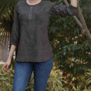 Charcoal Grey Fitted Blouse 2