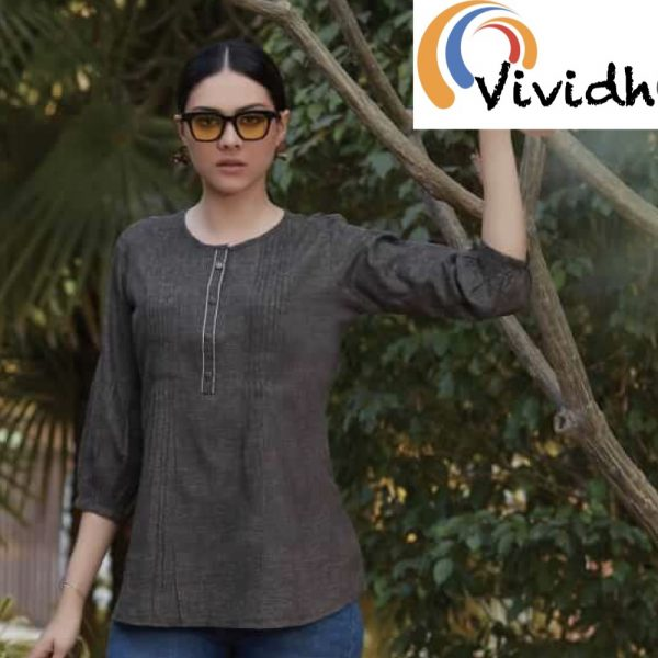 Charcoal Grey Fitted Blouse 3.001